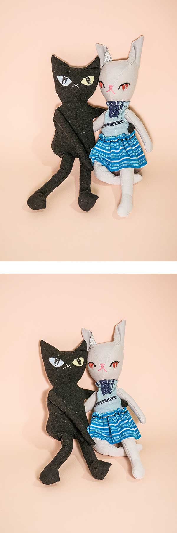 becca the grey rabbit and ken the black cat | handmade cloth dolls