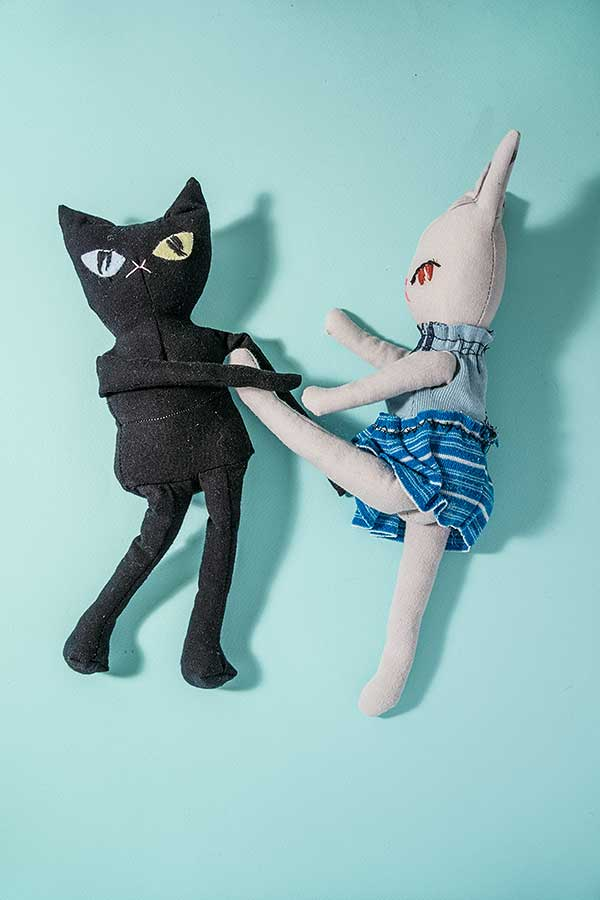 Handmade Bunny & Cat Dolls doing Kunfu. Made from recycled tee shirt // Marn Made It