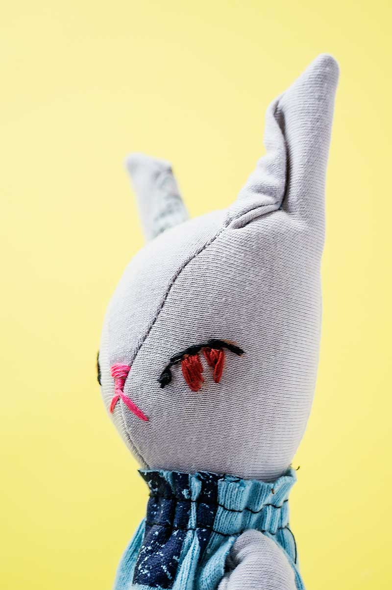 new becca bunny plushie - embroidery eyes - by Marn Wong // Marn Made It