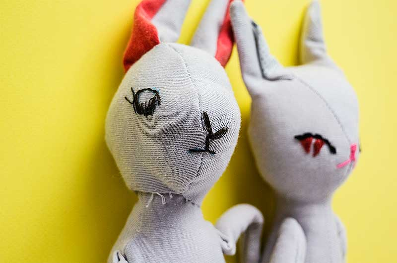 Bran & Becca, Bunny artist's dolls by Marn Wong // Marn Made It