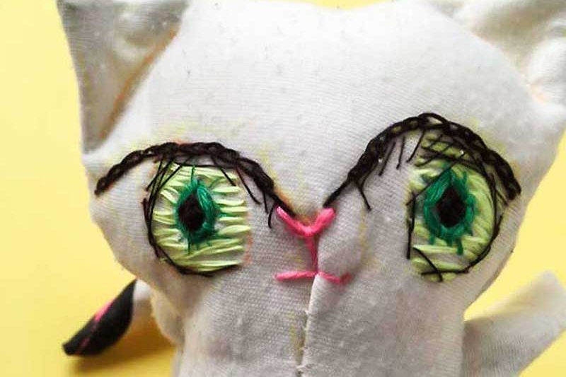 cain cat embroidered doll eyes face finished