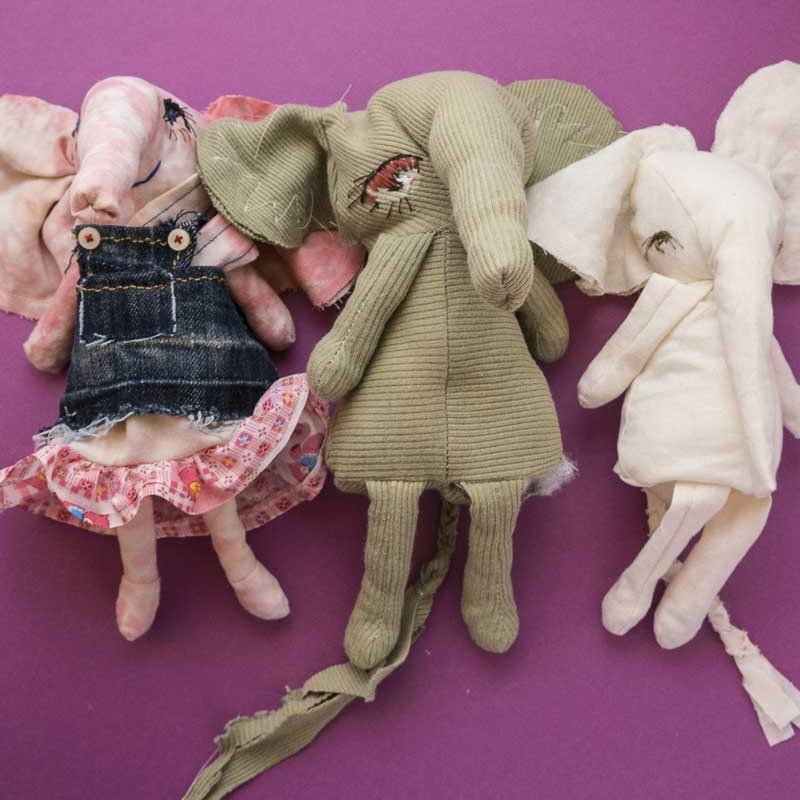 3 elephant doll prototypes