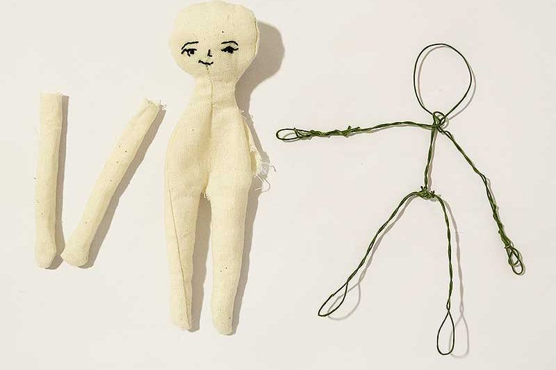 mini blank human doll base with wire armature