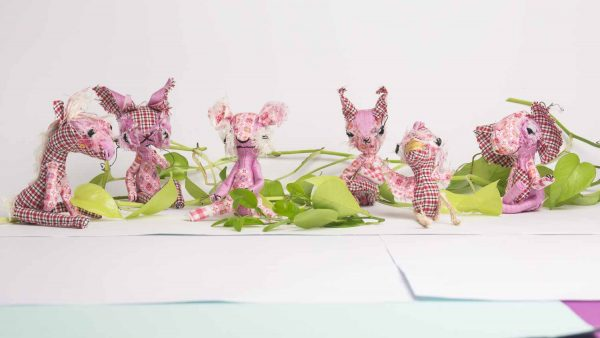group of poseable dolls from the dandelion collection