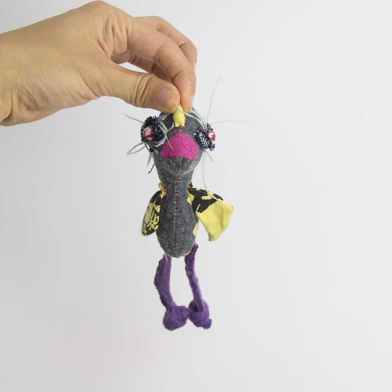 chicken anxiety pocket doll made from recycled materials // by Noisybeak