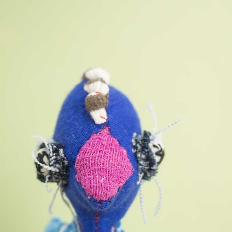 Blue chicken art worry doll with a pink beak. handmade with raw edges // noisybeak