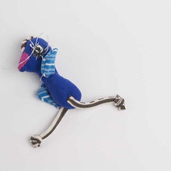 Blue chicken art worry doll with a pink beak. handmade with raw edges // noisybeak