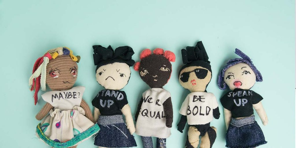 feminist protest textile art dolls made of recycled fabric