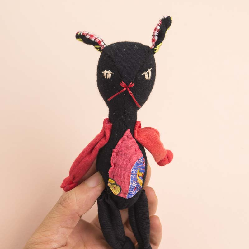 black rabbit soft kookie anti stress doll // noisybeak