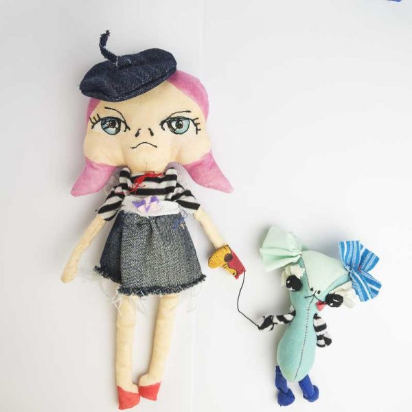 grouchy french girl art doll with dog
