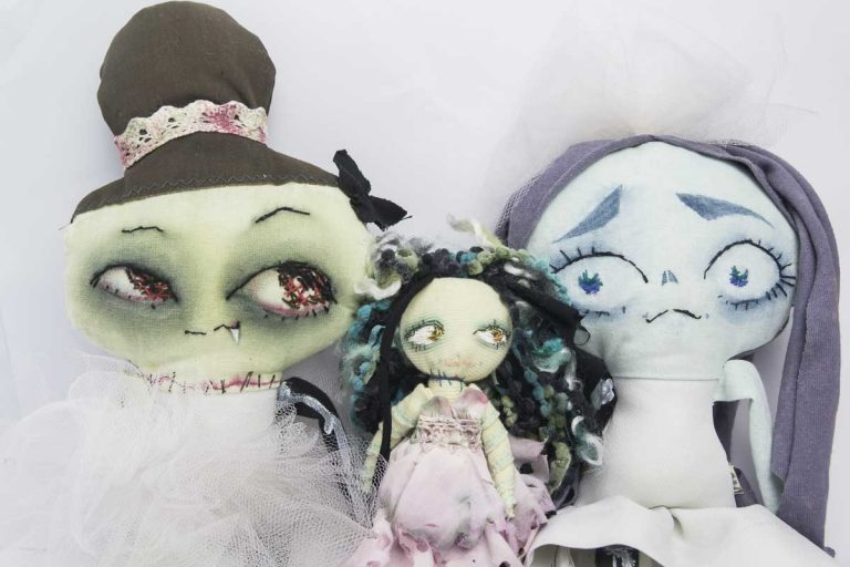 group of halloween handmade dolls
