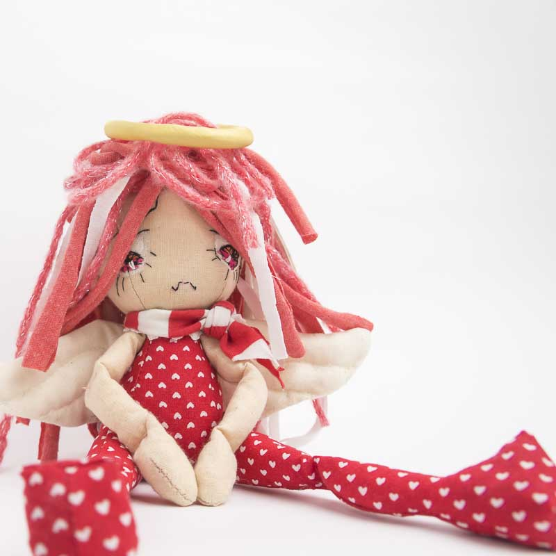 sad angel ooak art doll