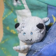 Cute baby hippo hand sewn from upcycled fabric noisybeak textile artist