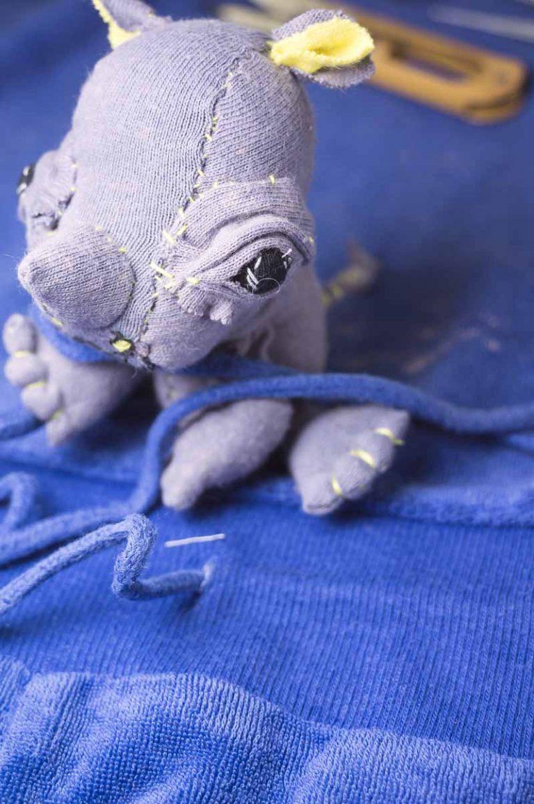 baby handmade rhinoceros textile art doll