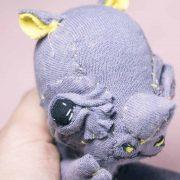 baby rhino textile doll