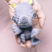 baby rhinoceros textile handmade doll