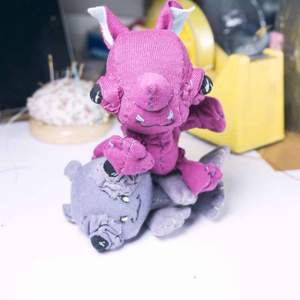 baby rhino doll slow stitched from upcycled fabric