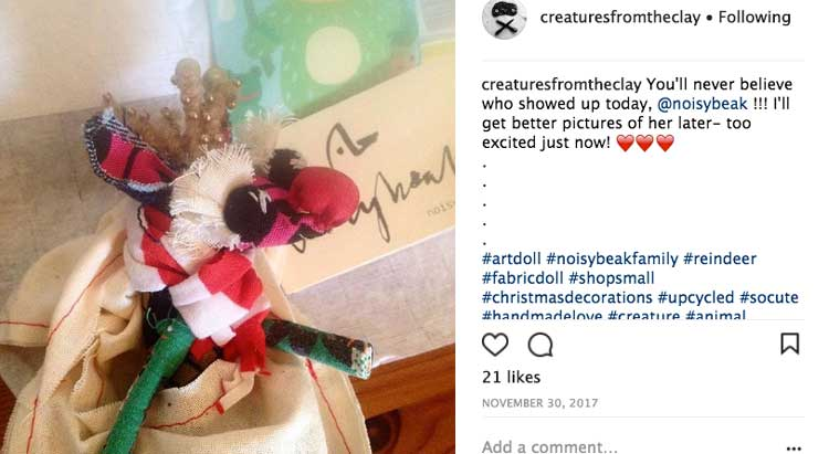 cou-reindeer doll arrived safely at her forever home at Abigail's