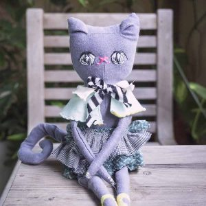 russian blue handmade cat doll with embroidery eyes