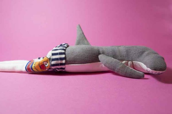 upcycled shark dolls dressed in a reclaimed ernie t-shirt