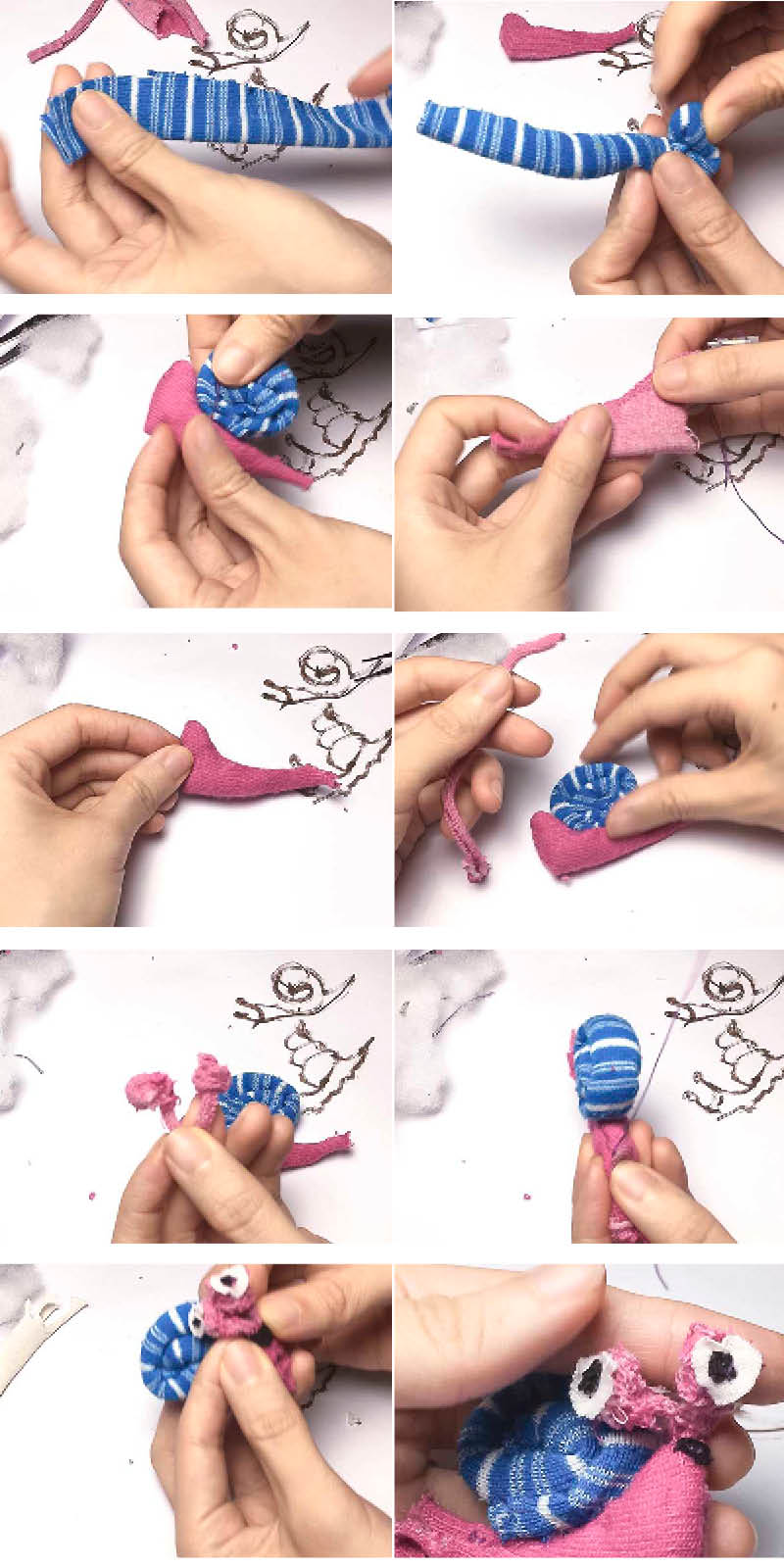 how to sew a cute simple snail by hand