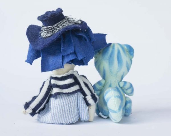 back of girl and cat handmade artist doll
