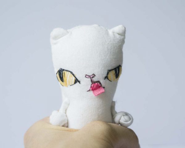 white exotic short hair cat with ember eyes and tongue sticker out -handmade artist doll