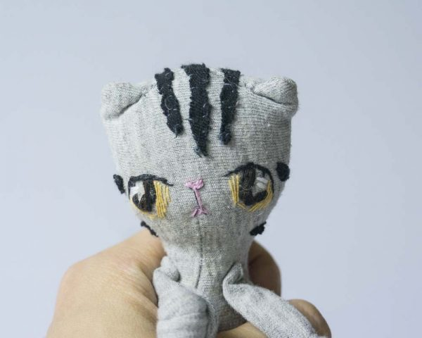 grey tabby cat handmade mini plushie