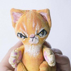 Ginger tabby cat handmade doll makes a good blythe friend