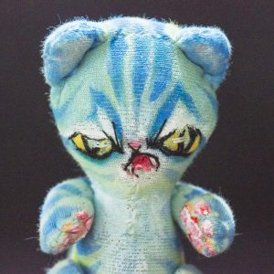 turquoise cheshire evil alien cat handmade from reclaimed materials