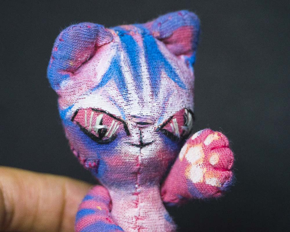 pink alien cheshire evil cat doll friend handmade by doll maker