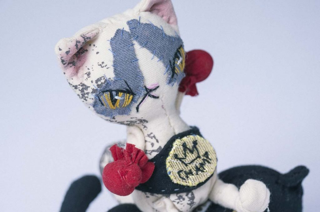 boxing cat fighter cat ragdoll handmade by dollmaker