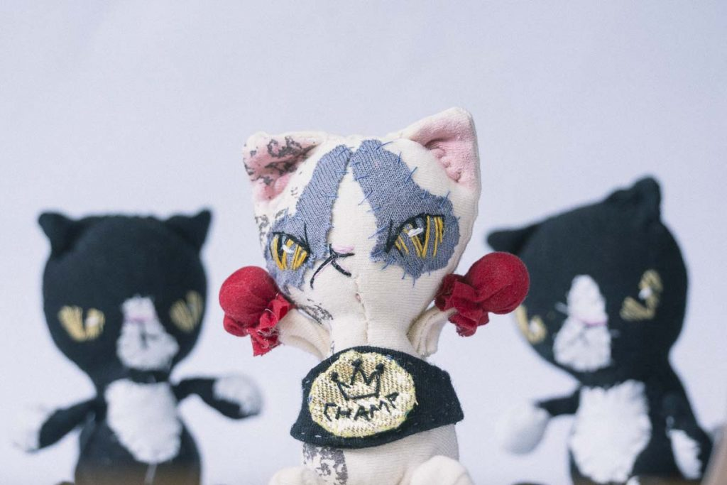 champion fighting cat handmade doll