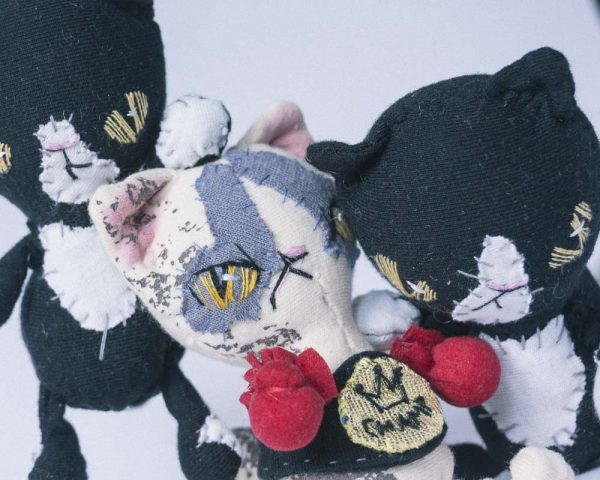 catfight between ragdoll cat and tuxedo black bad cat handmade dolls