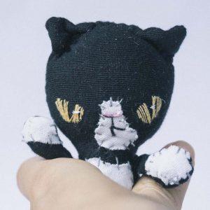 slow stitching handmade black white tuxedo bad cat pocket doll
