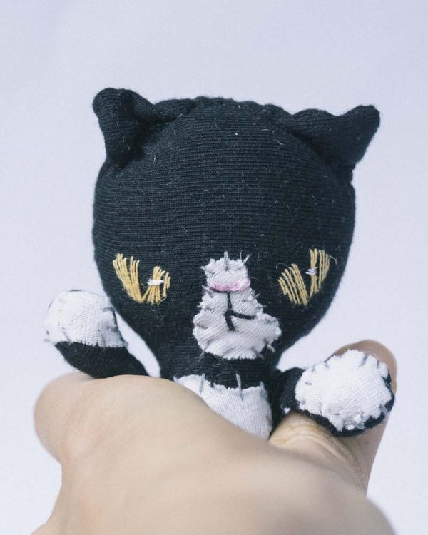 slow stitching handmade black white tuxedo bad cat pocket doll
