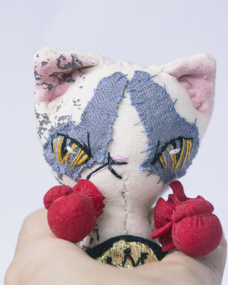 ragdoll fighter cat with boxing gloves by dollmaker