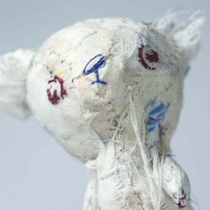 fabric collage polar bear cub with embroidered face
