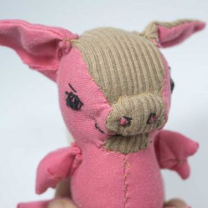 pink brown chubby piggy with wings handmade artist doll