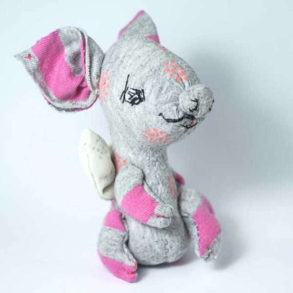 pocket angel piggy, pink and grey hand made piggie plushie in pocket size with hand embroidery