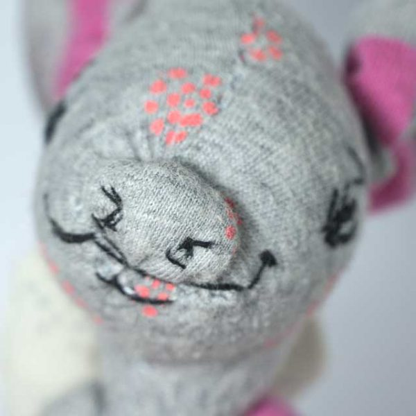 embroidery pig snout close up, artist piglet doll