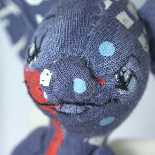blue piglet artist doll with recycled fabric