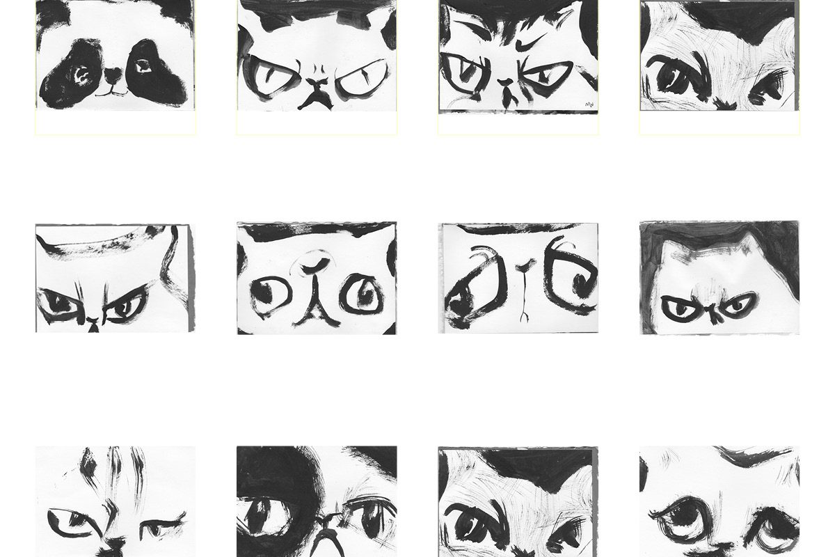 an index of 12 grumpy kitty drawing in brush and ink by noisybeak