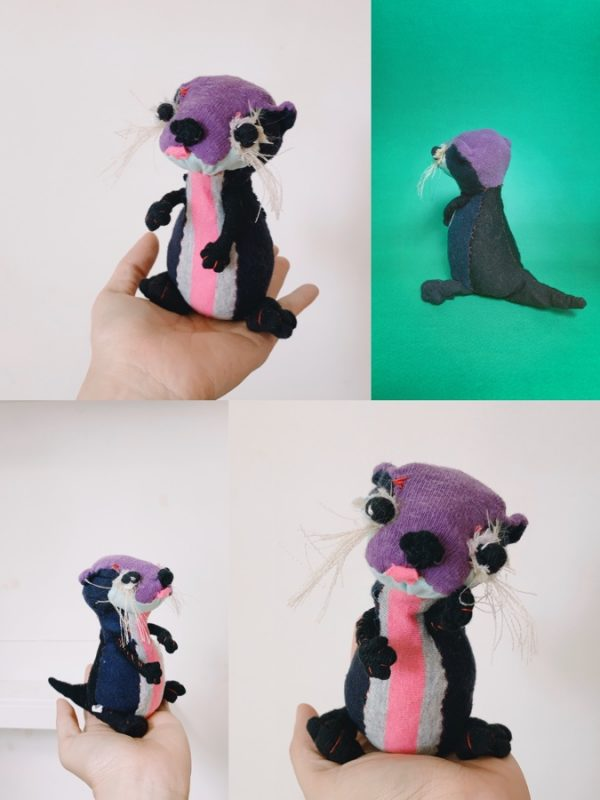 collage of 4 photos showing gladys the otter fabric textile art doll in different positions. 3 photos showing the cute chubby otter fingers