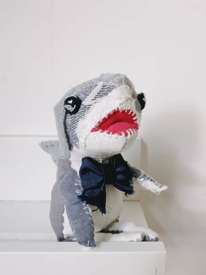 textile art doll of great white shark handmade with recycled fabric