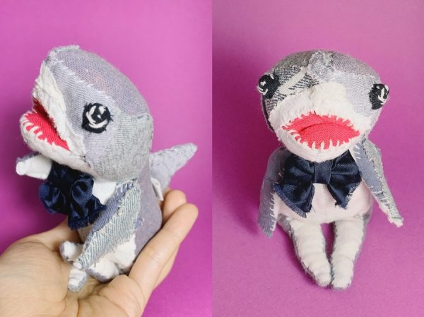 fabric artist doll of a great white shark, made of 100% reclaimed fabric