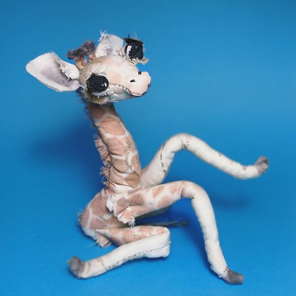 giraffe textile artist doll made of upcycled fabric