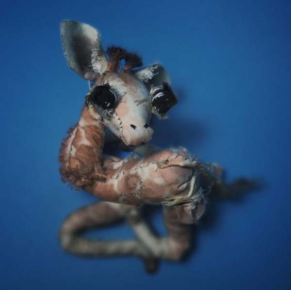 giraffe textile art doll made from recycled materials
