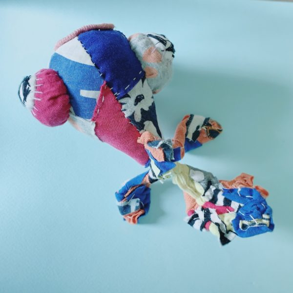 bird's eye view of goldfish textile art all, made in recycled fabric, handstiched by artist