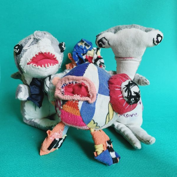3 handmade textile artist dolls, great white, goldfish and hammerhead shark, all front facing